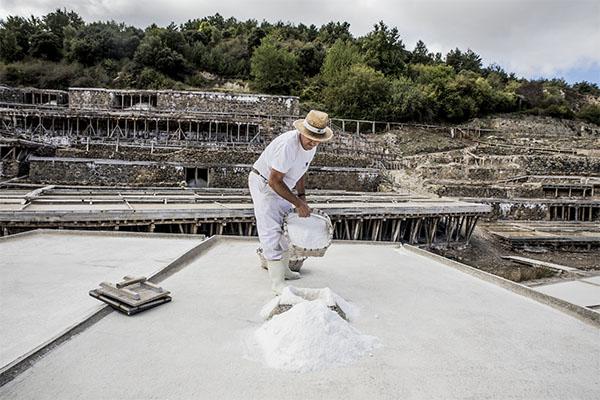 Salinero mayor con cesto de sal en Añana